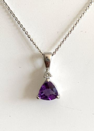 Purple Amethyst White Gold Triangle Necklace K40-9499-83W